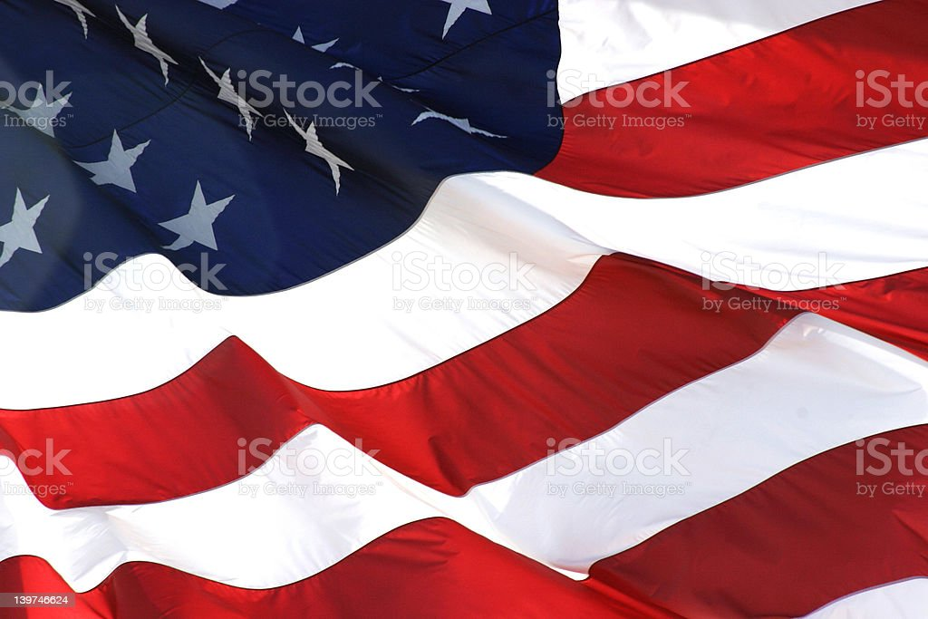 American Flag in Horizontal View royalty-free stock photo