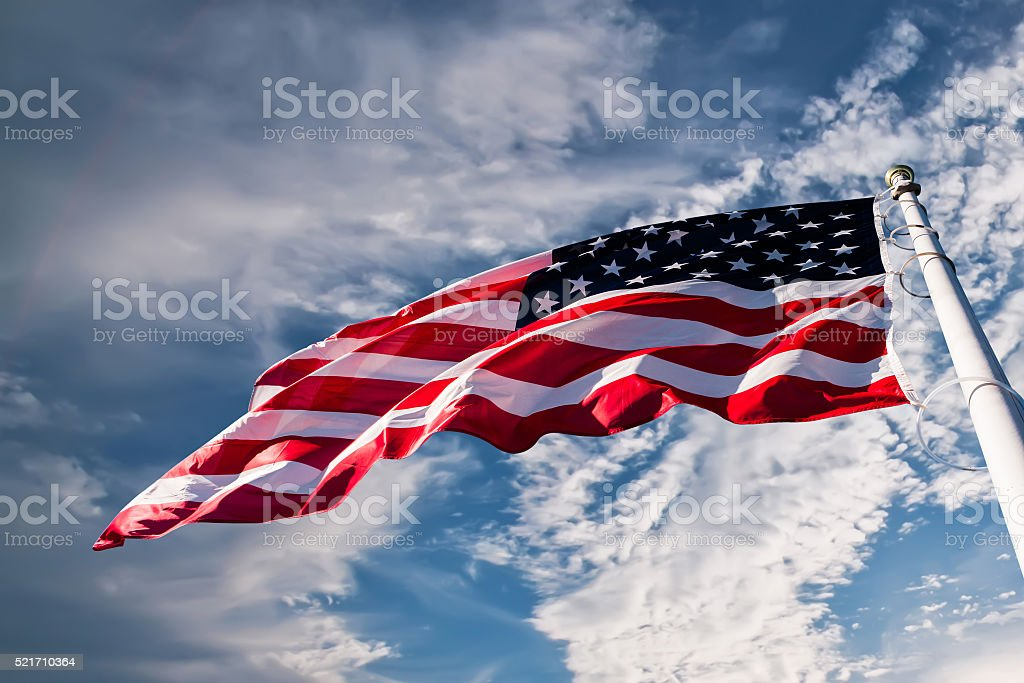 american flag in the sky stock photo