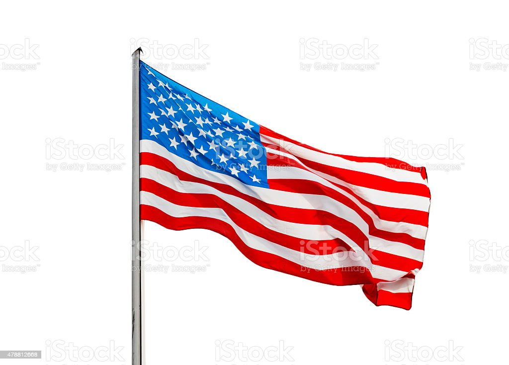 American flag in the wind  on a white background stock photo