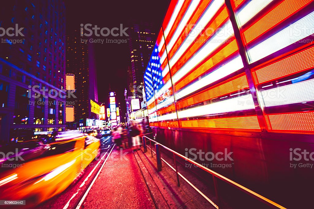 American Flag in Times Square NYC stock photo