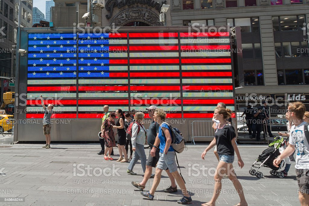 American Flag in Times Square stock photo