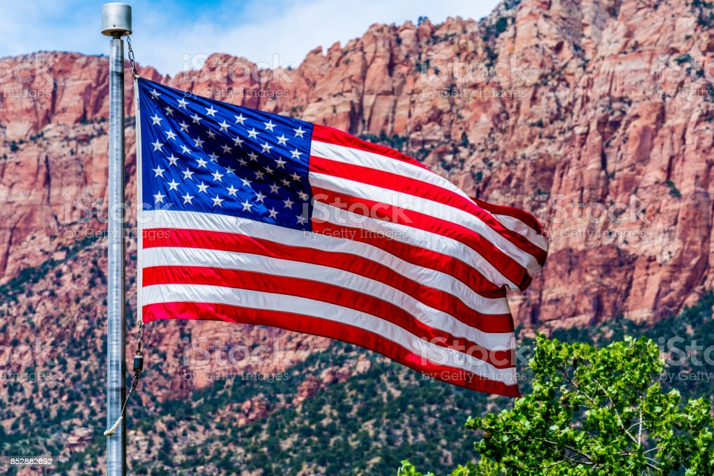 American Flag in Zion National Park, USA. stock photo