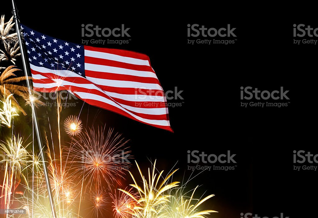 American Flag Infront Of Fireworks royalty-free stock photo