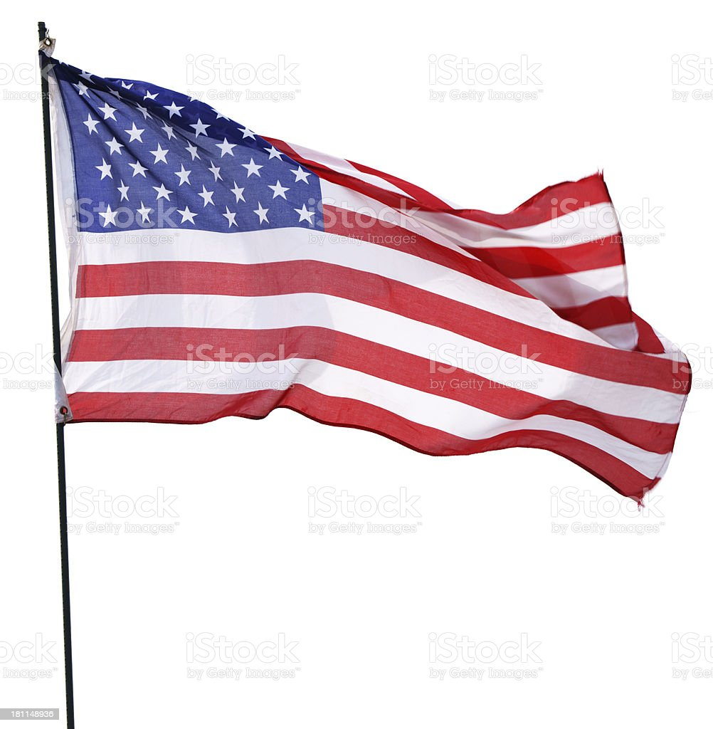 American Flag isolated on white royalty-free stock photo