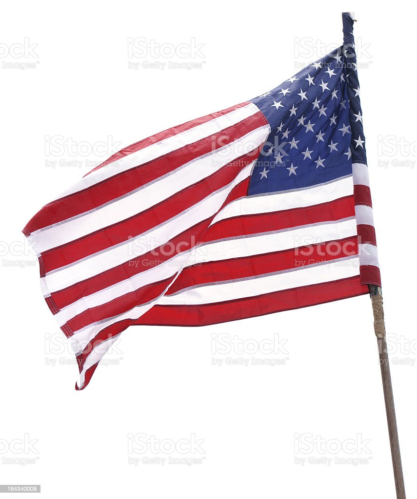 American Flag isolated on white stock photo