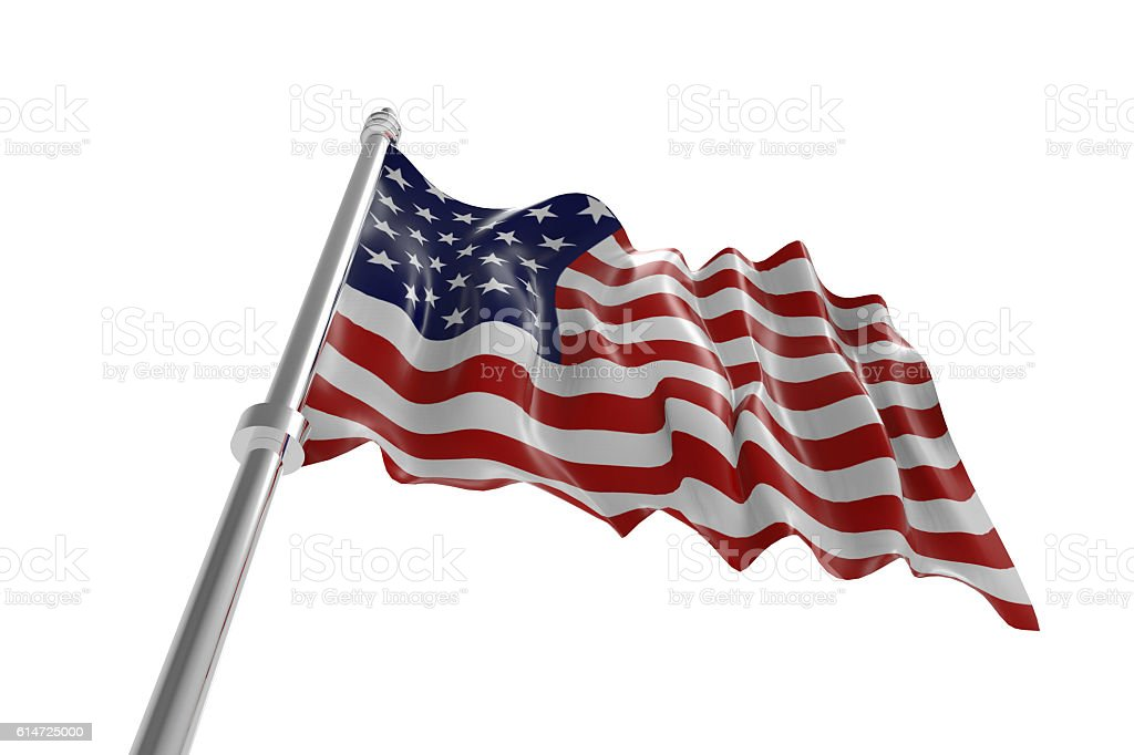 American flag isolated stock photo