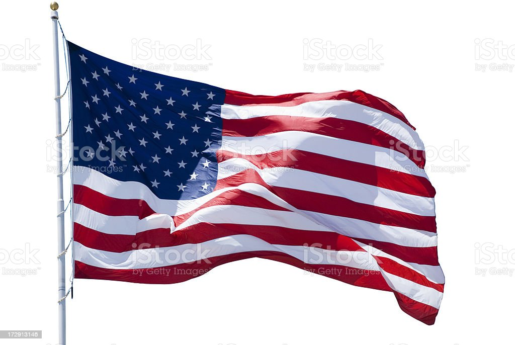 American Flag Isolated with clipping path stock photo