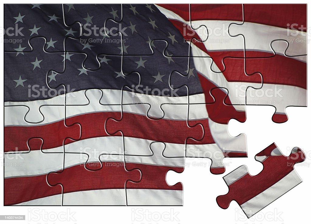 Bandera estadounidense Sierra de calar foto de stock libre de derechos