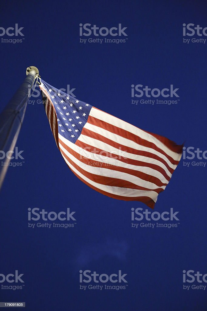 American Flag low angle at night royalty-free stock photo