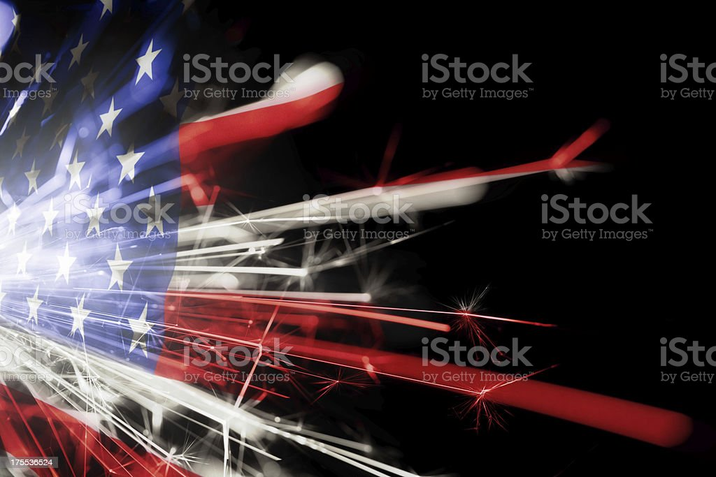 American flag made of sparklers stock photo