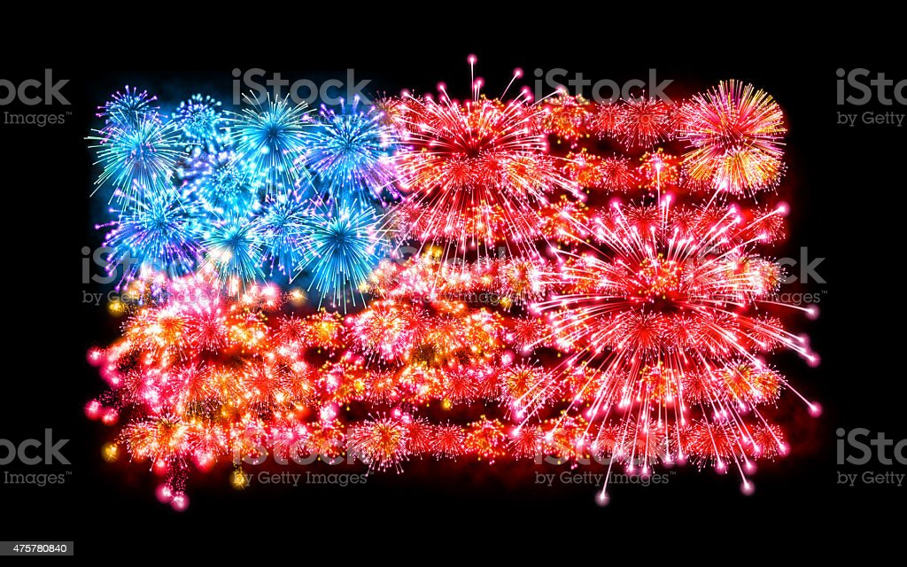 American flag made with fireworks: Fourth of July celebration stock photo