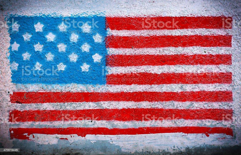 American flag mural stock photo
