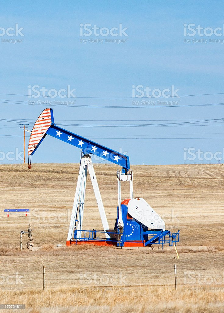 American Flag Oil Pump royalty-free stock photo