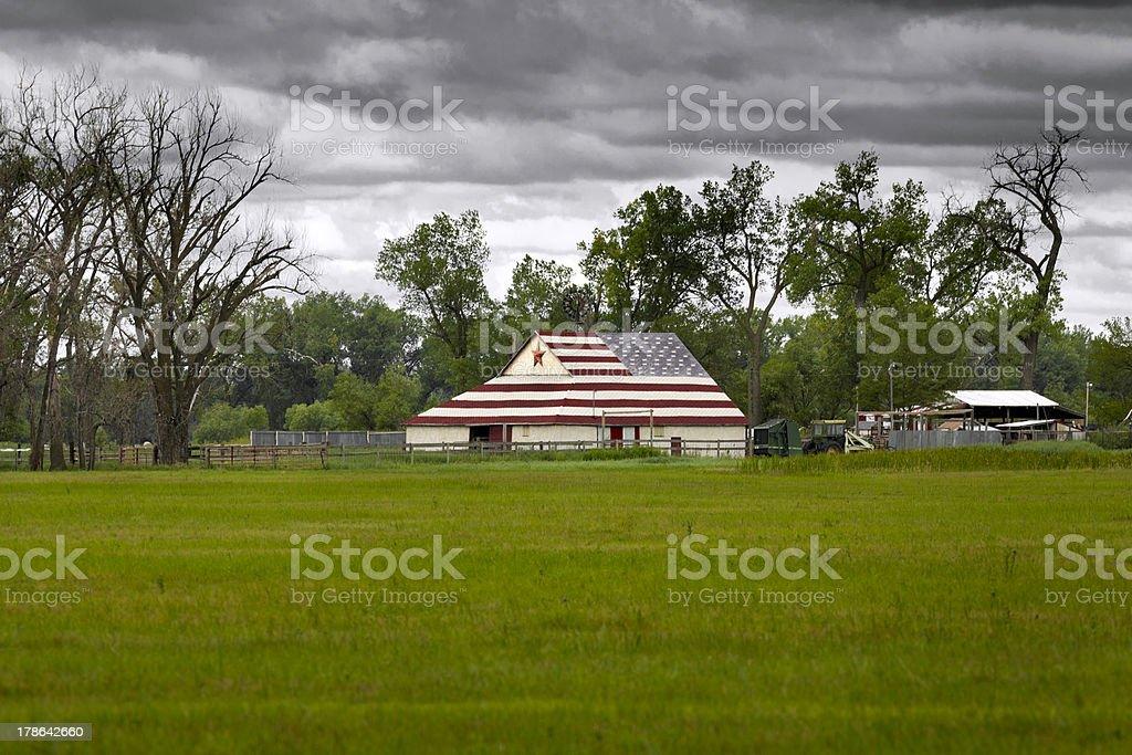 American flag on a barn in Nebraska royalty-free stock photo