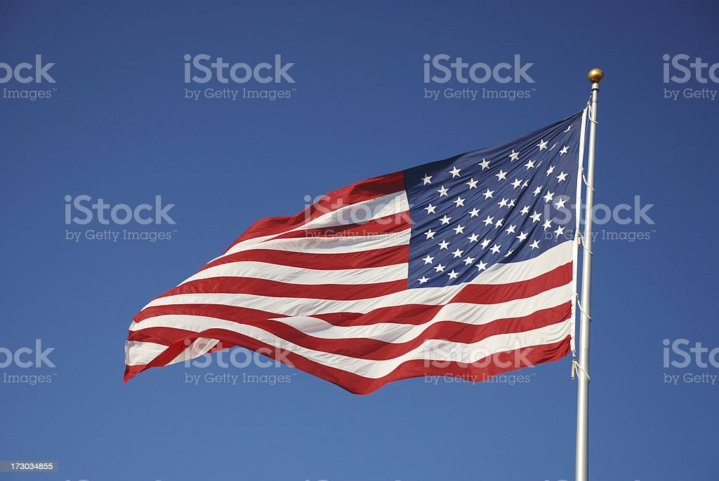 US American Flag on a pole royalty-free stock photo