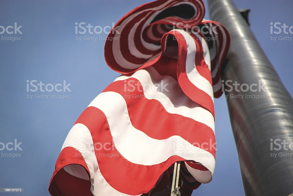 American Flag on a Steel Pole royalty-free stock photo