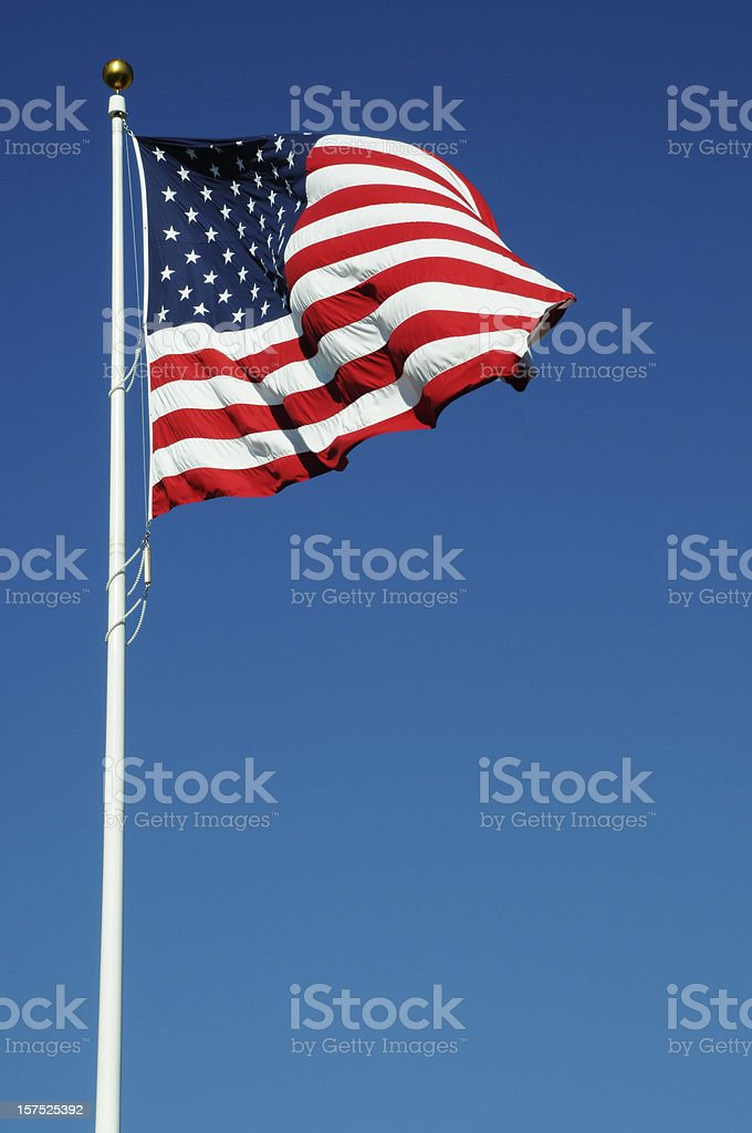 American Flag on a White Pole royalty-free stock photo