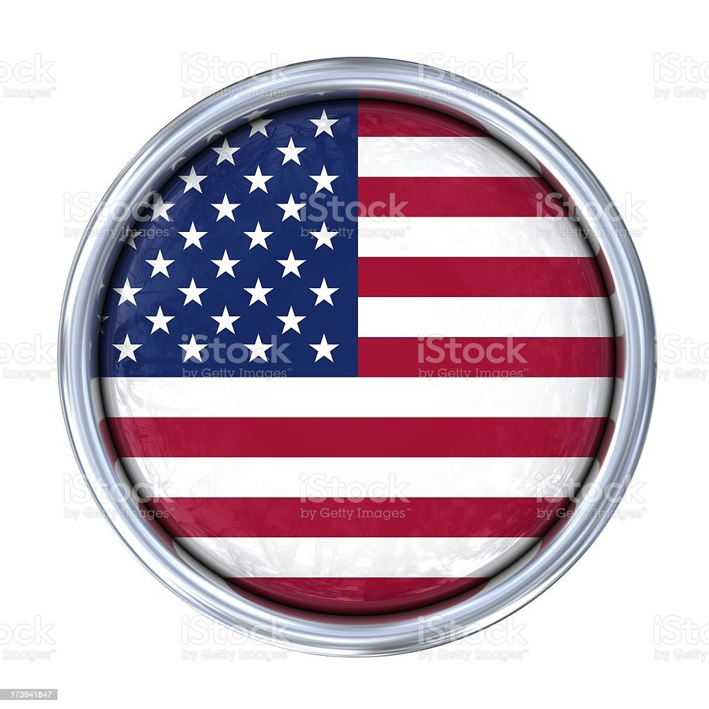 american flag on button stock photo