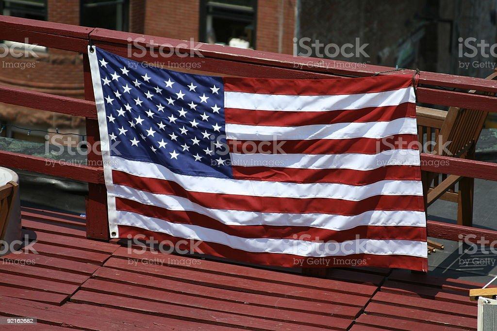 American Flag on Deck stock photo