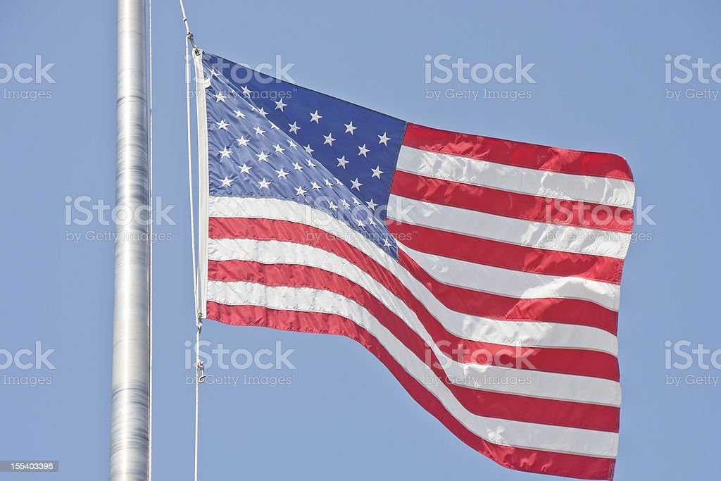 American Flag on Flagpole Rope royalty-free stock photo