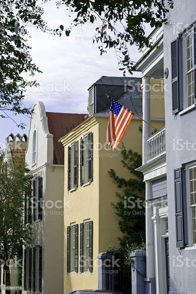 American Flag on Home in Charleston, SC royalty-free stock photo