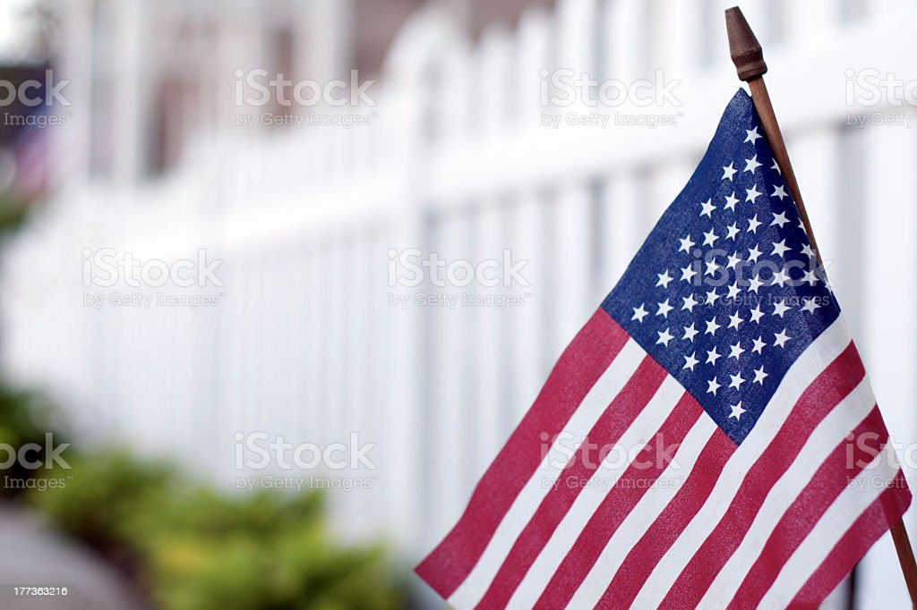 American Flag on Mainstreet USA stock photo