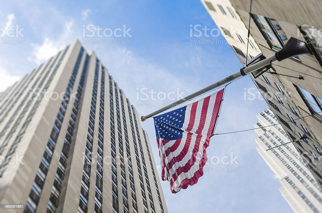 american flag on manhattan royalty-free stock photo