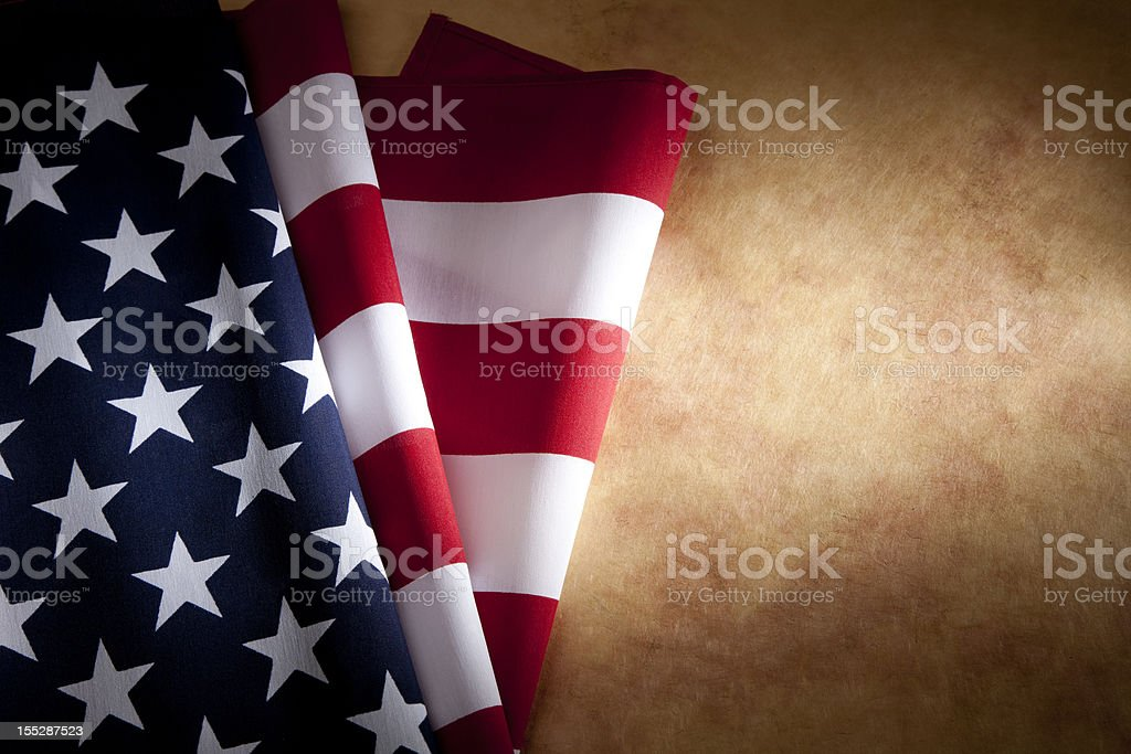 USA American Flag on Parchment Paper Copyspace royalty-free stock photo