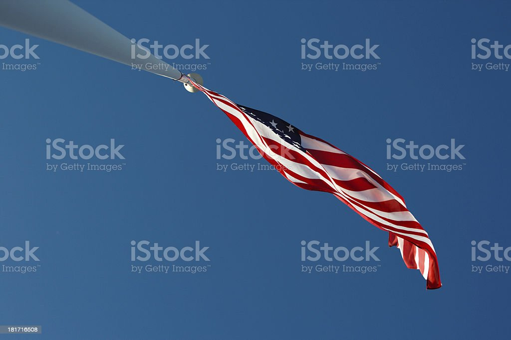 American flag on the mast royalty-free stock photo