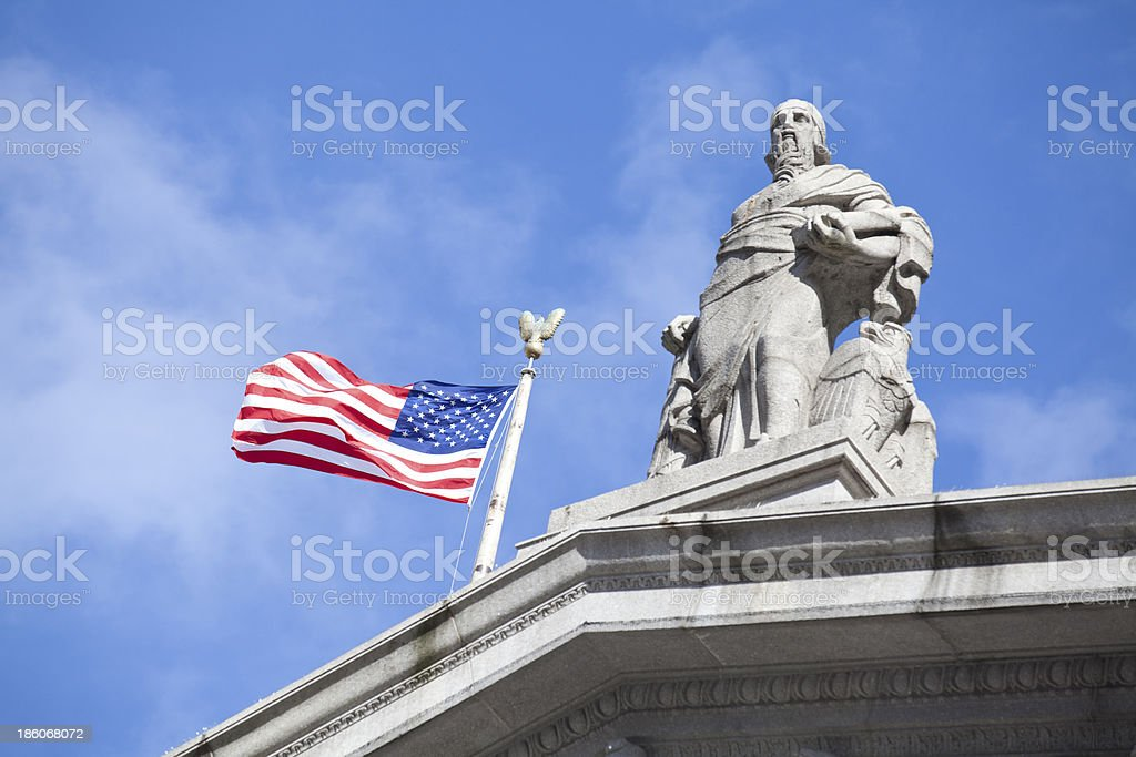 American flag on the Supreme Court in New York City royalty-free stock photo