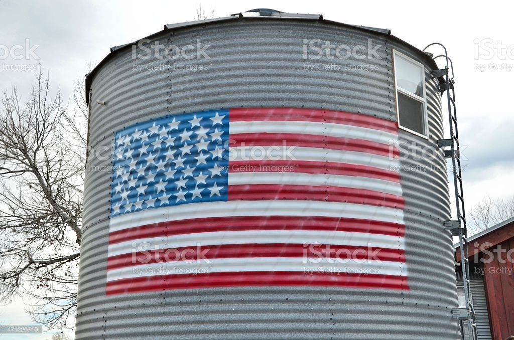 American Flag on Tower stock photo