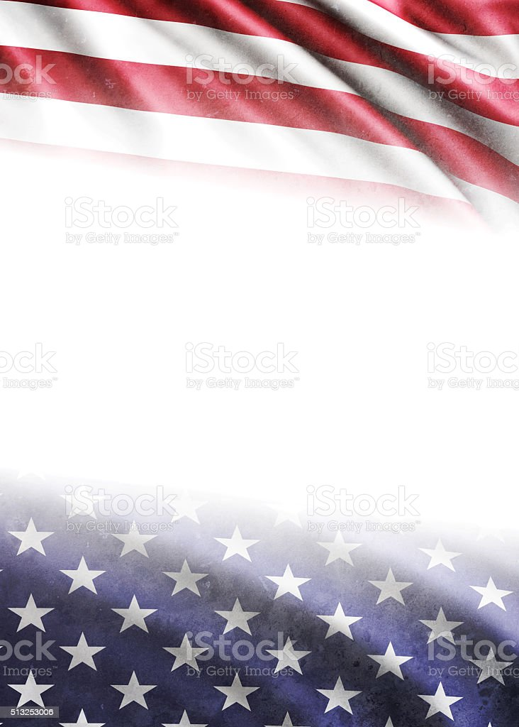 Ameican flag on white background. The flag has grunge texture and...