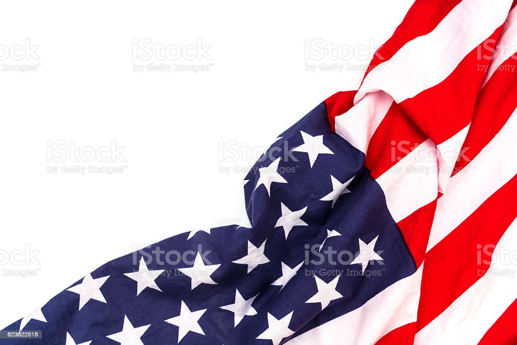 American flag on white background royalty-free stock photo