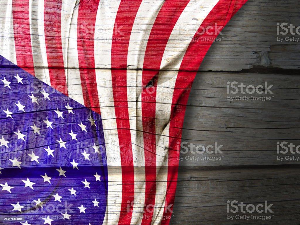 American flag on wood stock photo