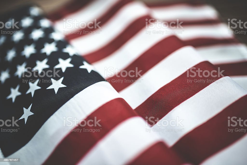 american flag on wood with copyspace stock photo