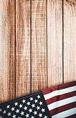 american flag on wood with copyspace