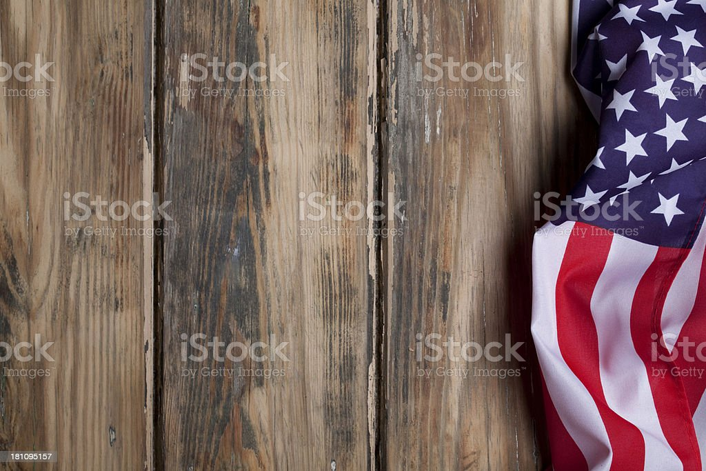 American flag on wooden background royalty-free stock photo