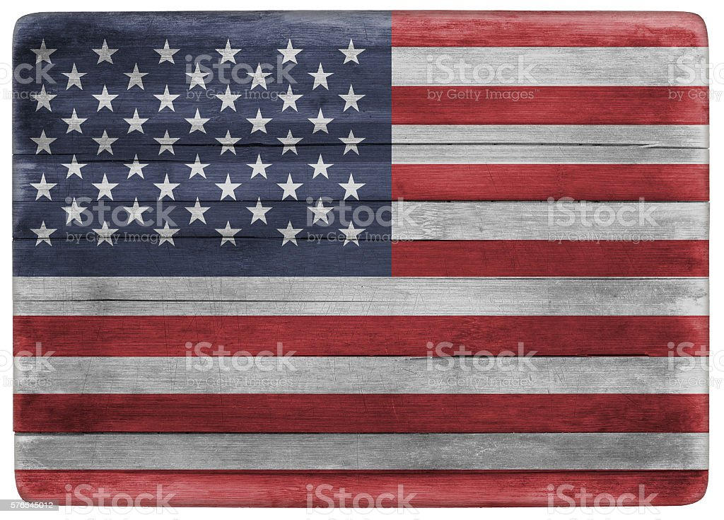 American flag on wooden board stock photo