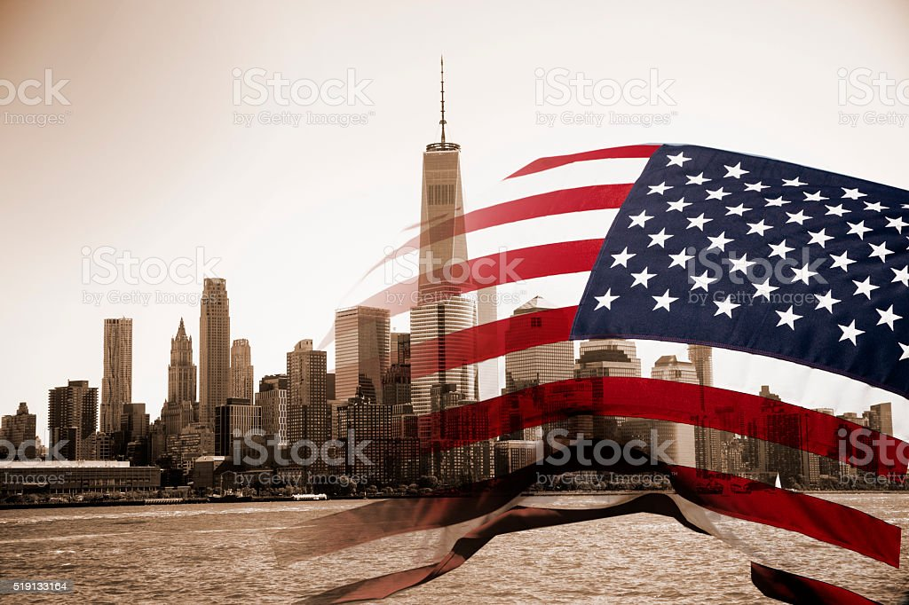 American flag, One World Trade Center background. New York City. stock photo