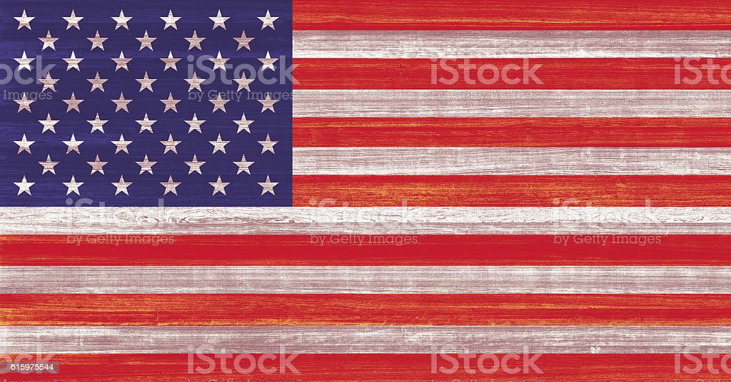American Flag Painted on Wood stock photo