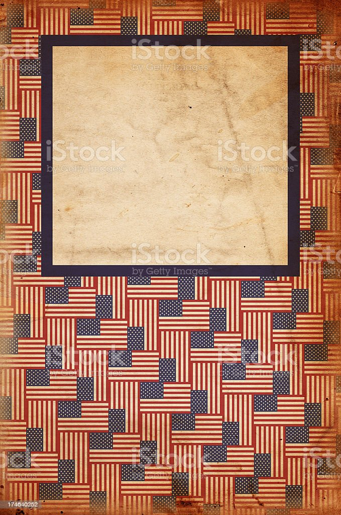 American Flag Patterned Grunge Paper Frame XXXL stock photo