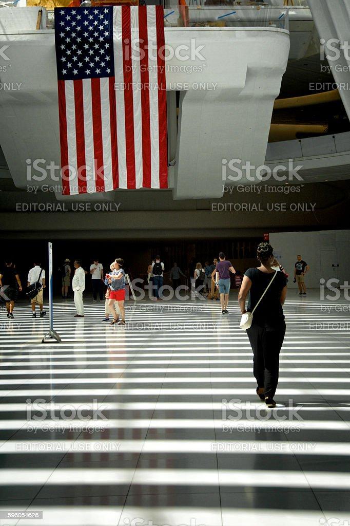 American Flag, People Under the Oculus, World Trade Transportation Hub stock photo