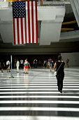 American Flag, People Under the Oculus, World Trade Transportation Hub
