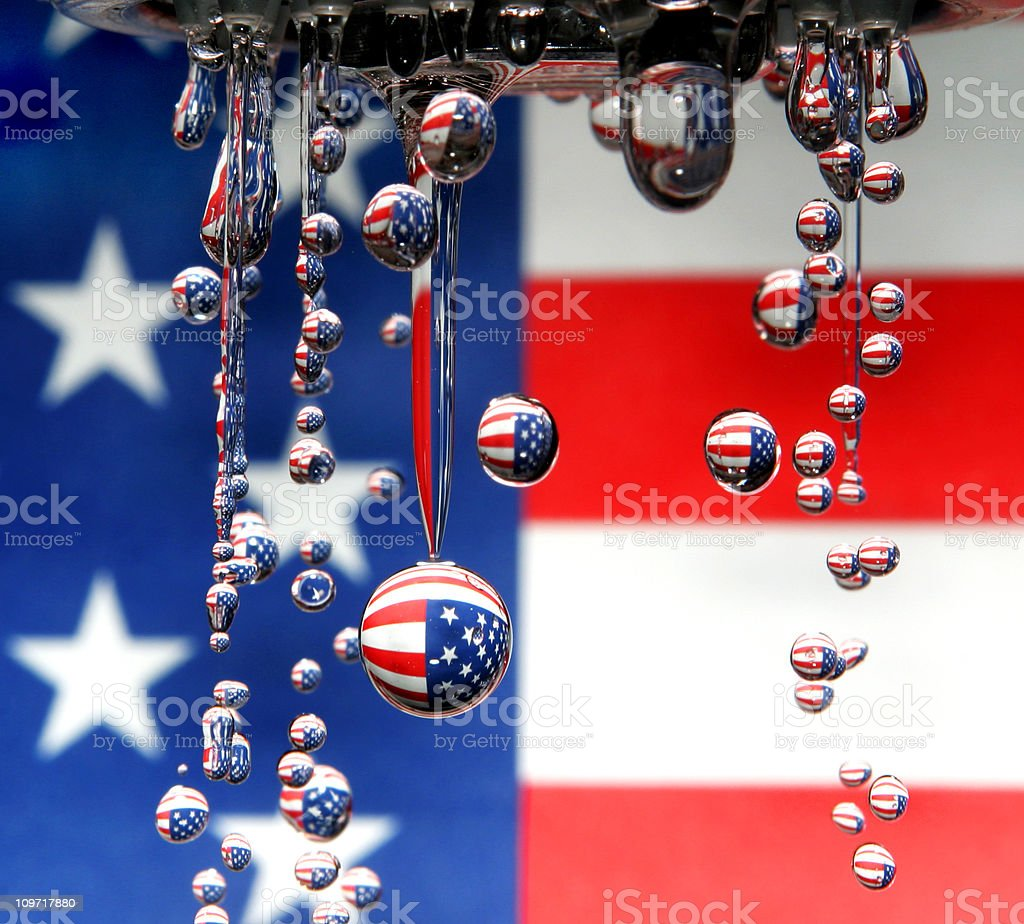American Flag Reflecting in Water Droplets royalty-free stock photo