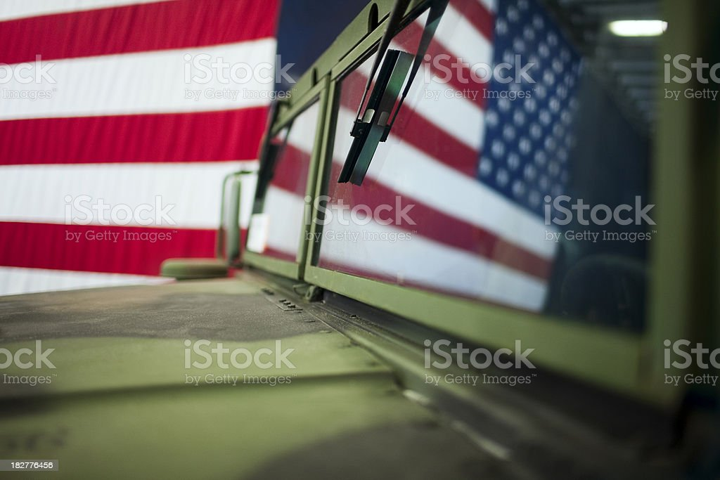 American Flag Reflection in Military Hummer, Copy Space royalty-free stock photo