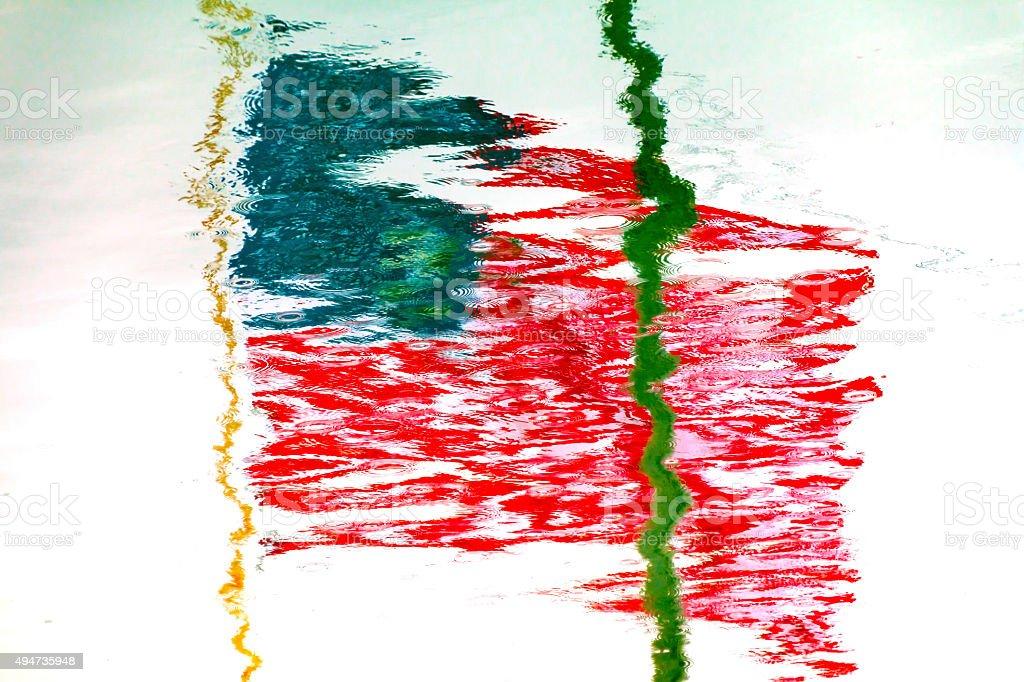 American Flag  Reflection Westport Grays Harbor Washington State stock photo