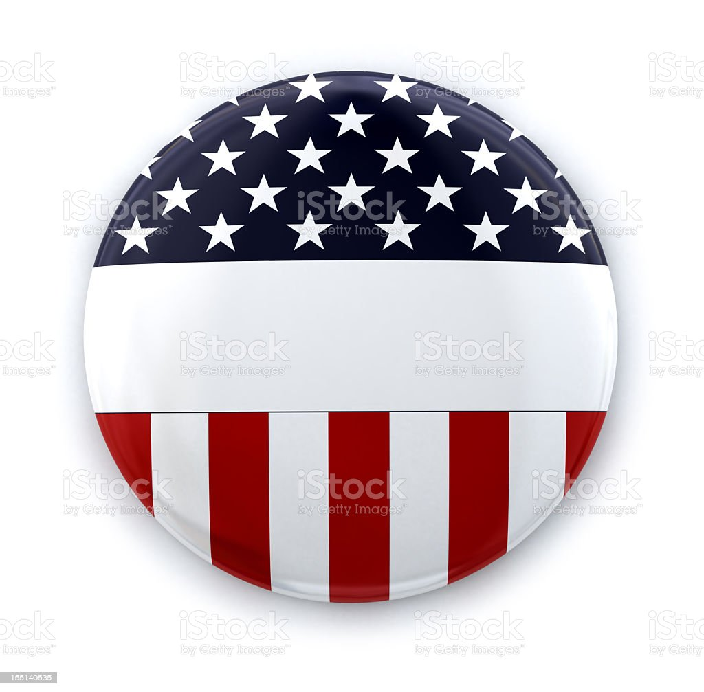 American flag round button template stock photo