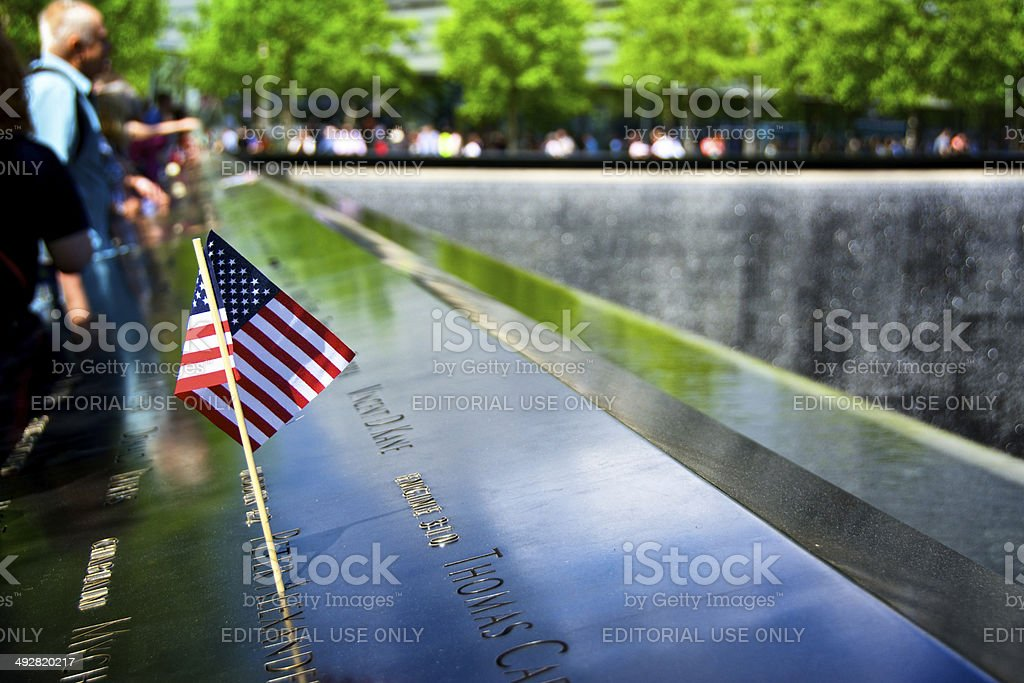 American Flag, September 11th Memorial World Trade Center site, NYC stock photo