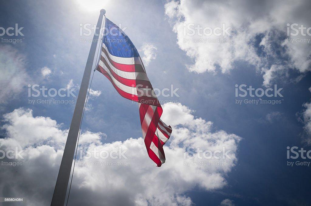 American Flag Sky stock photo