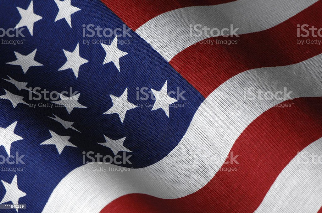 American Flag Studio Shot Close Up Waving royalty-free stock photo